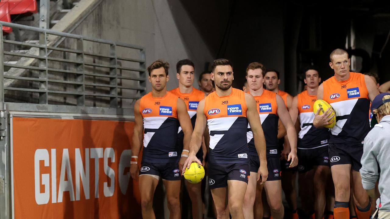 Stephen Coniglio leads out the Giants last weekend.